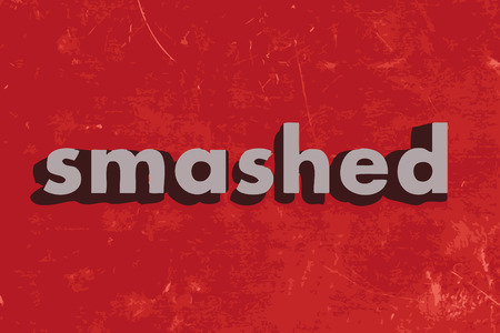 smashed: smashed vector word on red concrete wall