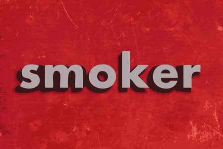 smoker: smoker vector word on red concrete wall