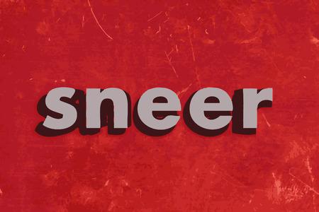 sneer: sneer vector word on red concrete wall