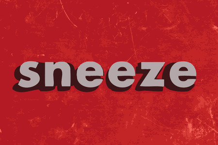 sneeze: sneeze vector word on red concrete wall Illustration