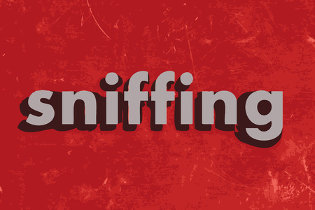 sniffing: sniffing vector word on red concrete wall