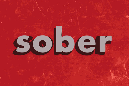 sober: sober vector word on red concrete wall Illustration