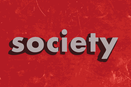 societies: society vector word on red concrete wall