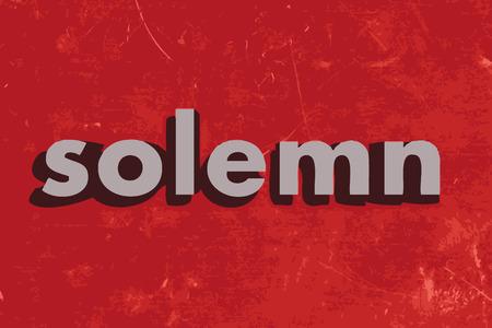 solemn: palabra vector solemne en rojo muro de hormig�n Vectores