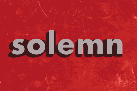 solemn: solemn vector word on red concrete wall