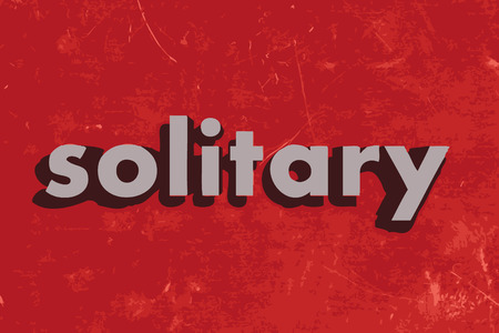 solitary: solitary vector word on red concrete wall