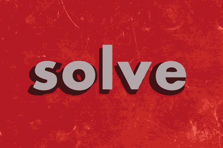 solve: solve vector word on red concrete wall