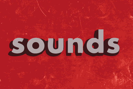 sounds: sounds vector word on red concrete wall Illustration