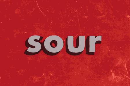 sour: sour vector word on red concrete wall Illustration