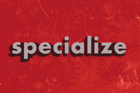 specialize: specialize vector word on red concrete wall
