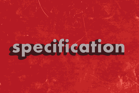 specification: specification vector word on red concrete wall