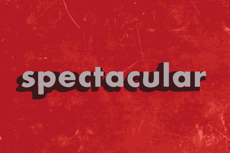 spectacular: spectacular vector word on red concrete wall