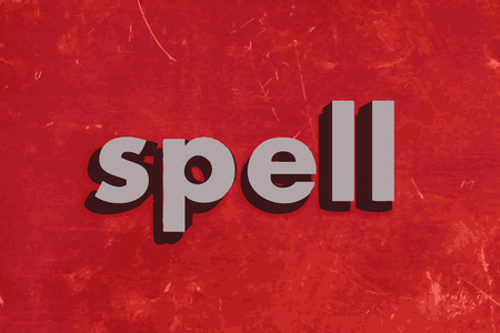 spell: spell vector word on red concrete wall Illustration