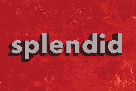 splendide: splendide mot de vecteur sur mur de b�ton rouge