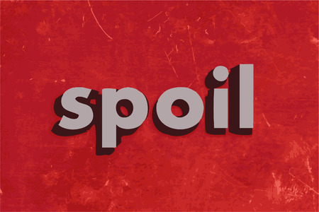 spoil: spoil vector word on red concrete wall