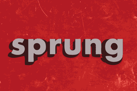 sprung: sprung vector word on red concrete wall Illustration