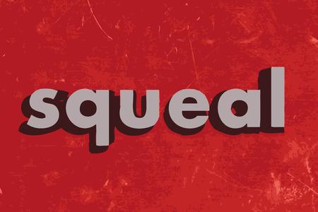 squeal: stridio parola vettoriale su muro di cemento rosso