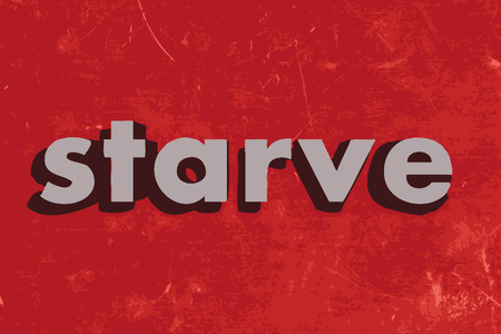 starve: starve vector word on red concrete wall