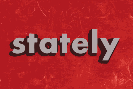 stately: stately vector word on red concrete wall