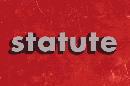 statute: statute vector word on red concrete wall Illustration