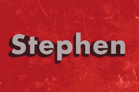 stephen: Stephen vettore parola sul muro di cemento rosso