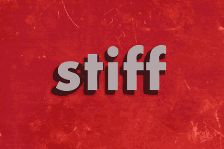 stiff: stiff vector word on red concrete wall