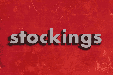 stockings: stockings vector word on red concrete wall Illustration