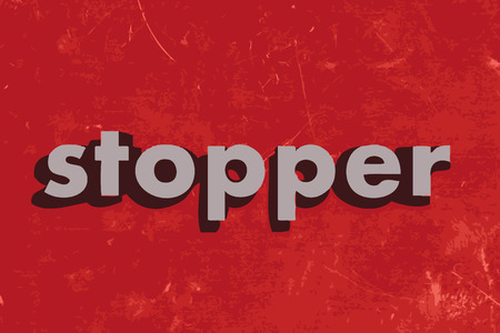 stopper: stopper vector word on red concrete wall
