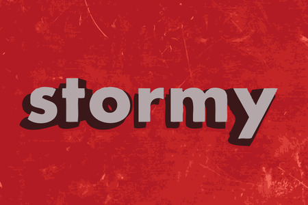 stormy: stormy vector word on red concrete wall