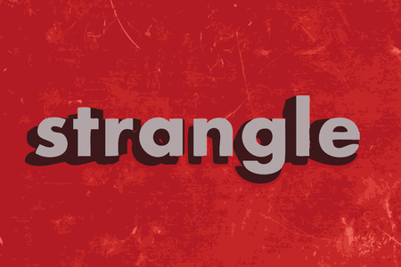 strangle: strangle vector word on red concrete wall