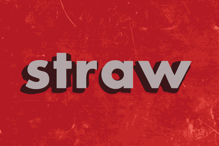 straw: straw vector word on red concrete wall