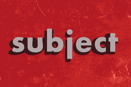 subject: subject vector word on red concrete wall