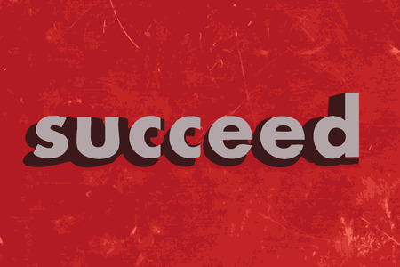 succeed: succeed vector word on red concrete wall