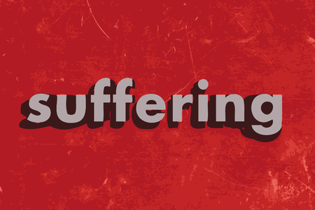 suffer: suffering vector word on red concrete wall Illustration