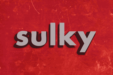 sulky: sulky vector word on red concrete wall