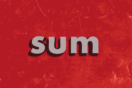 sum: sum vector word on red concrete wall Illustration
