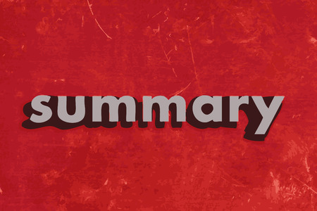 summary: summary vector word on red concrete wall
