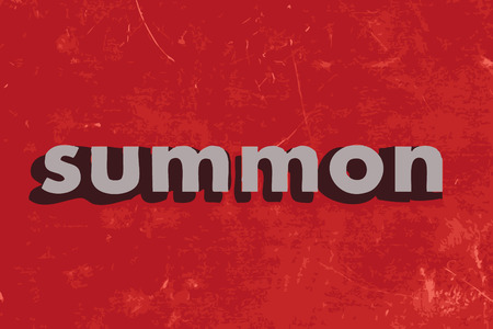 summon: summon vector word on red concrete wall