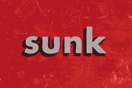 sunk: sunk vector word on red concrete wall Illustration