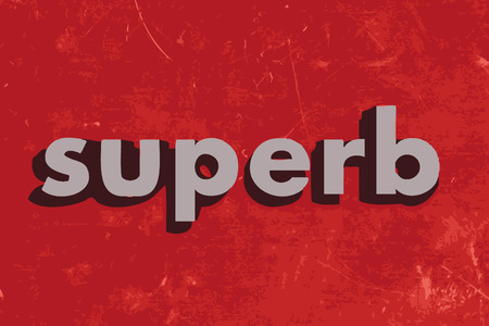 superb: superb vector word on red concrete wall