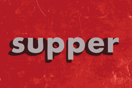 supper: supper vector word on red concrete wall