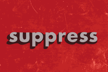 suppress: suppress vector word on red concrete wall