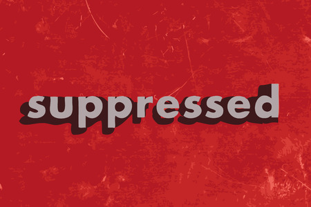 suppressed: suppressed vector word on red concrete wall Illustration
