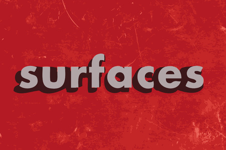 surfaces: surfaces vector word on red concrete wall
