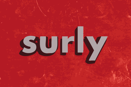 surly: surly vector word on red concrete wall