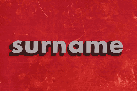 surname: surname vector word on red concrete wall
