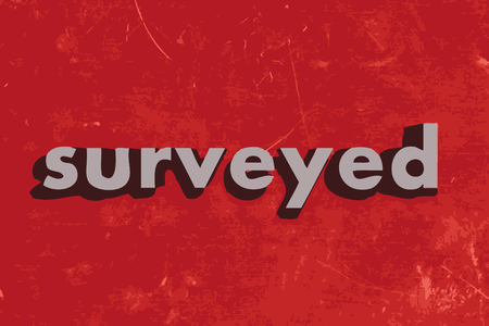surveyed: surveyed vector word on red concrete wall