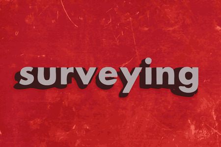 surveying: surveying vector word on red concrete wall