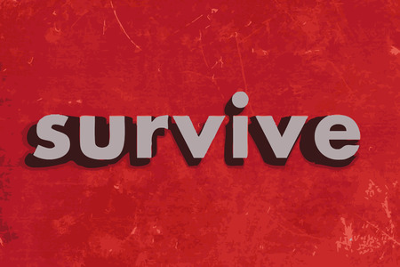 survive: survive vector word on red concrete wall
