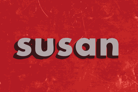 susan: susan vector word on red concrete wall